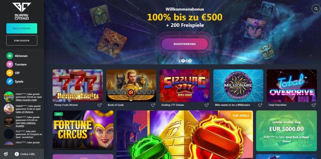 Buran Casino home page-min